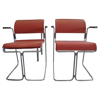 Harter Mid-Century Modern Red Chairs - A Pair
