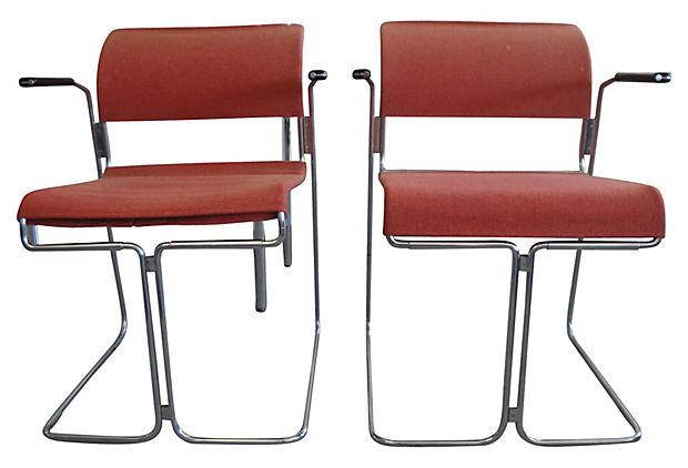 Harter Mid Century Modern Red Chairs   A Pair