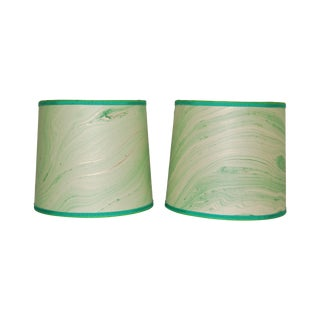 Mint Green Marble Lampshades - Pair