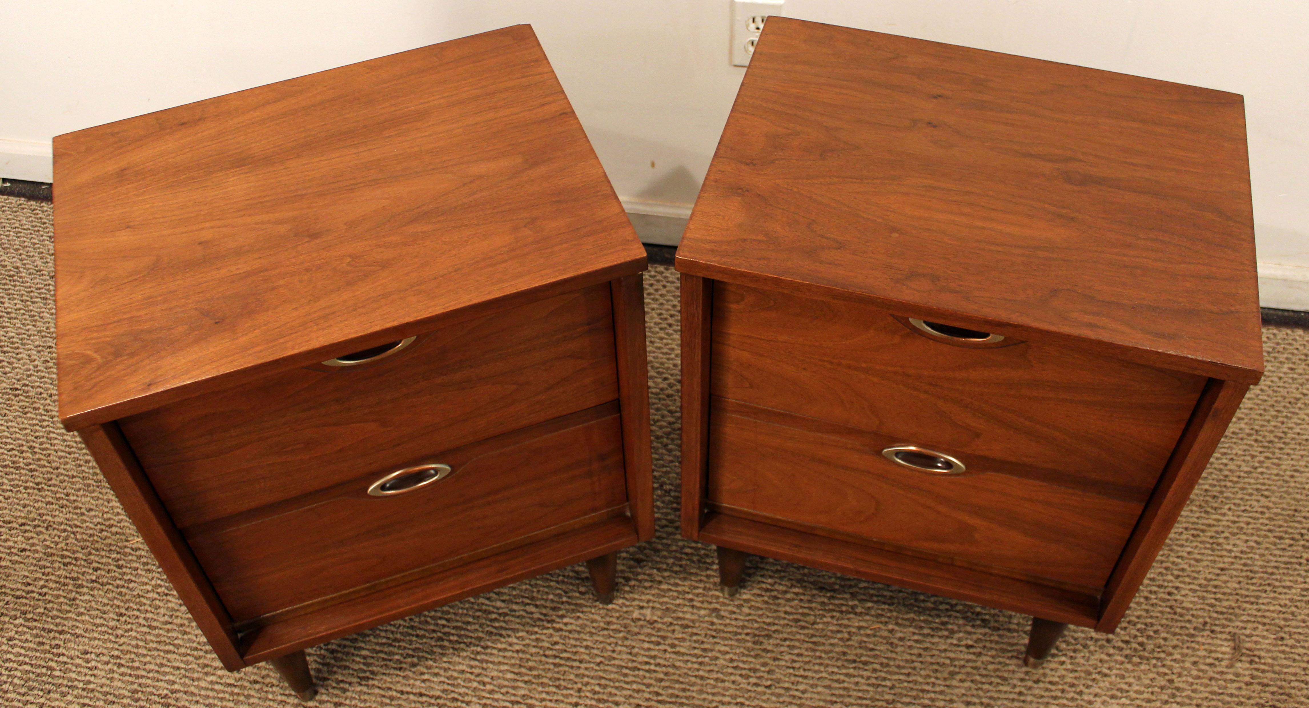 mainline by hooker midcentury danish modern walnut nightstands a pair image 4