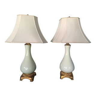 Curry & Company Mint Green & Gold Ceramic Table Lamps - A Pair
