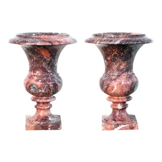 An Elegant Pair of French Campagna Urns of Opera-Fantastico Marble
