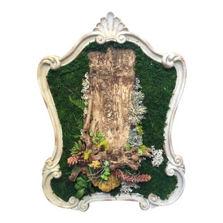 Natural Preserved Moss and Wood Framed Wall Art