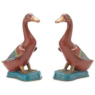 Chinese Cloisonné Ducks - A Pair