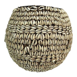 Nigerian Tribal Cowry Shell Basket
