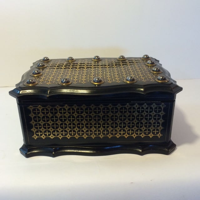 French Solid Ebony Wood Jewel Box - Image 5 of 7