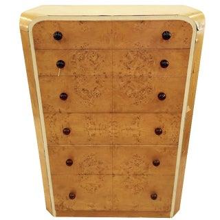 Deco Bedermeir-Style Burl Wood Chest