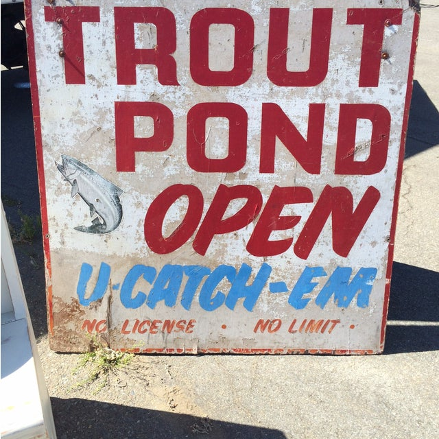 Vintage Double-Sided Trout Sign - Image 3 of 3