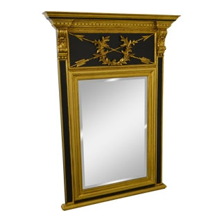 LaBarge Black & Gold Gilt Wood Frame Regency Style Trumeau Mirror w/ Crossing Arrows