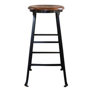 Vintage Industrial Rustic Wood and Metal Bar Stool