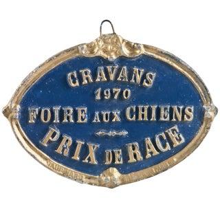 Vintage 1970 French Dog Award Plaque
