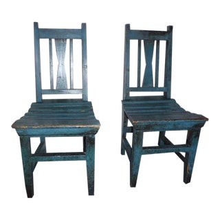 Pair of 19thc Original Blue Painted Childrens