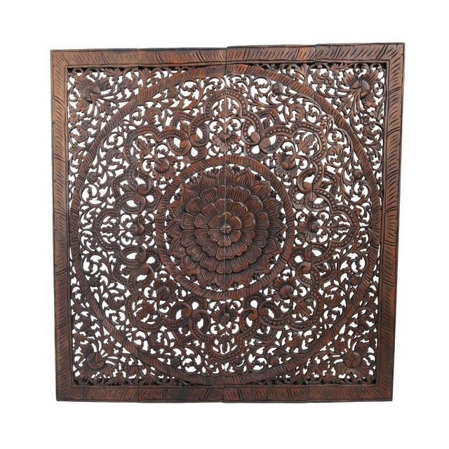 "Dark Wax Carved Square Panel 48"" - Image 1 of 3"