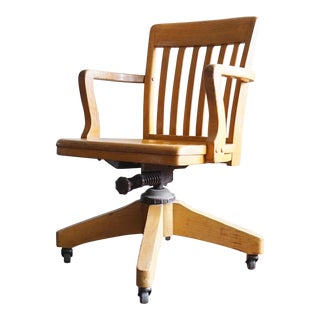 Vintage Wooden Swivel Rolling Desk Chair