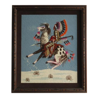 Native American Rider on Horse Framed Needlepoint