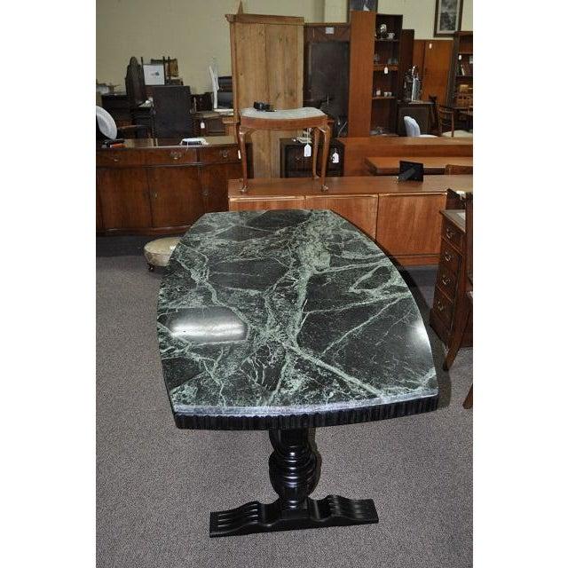 Image of 1920s Marble Top Dining Table W/ Ebonized Trestle Base