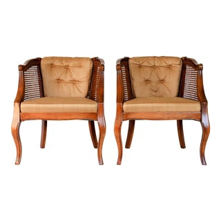 Pair of Caned Barrel Chairs