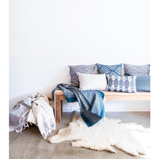 "Handwoven Teal & Blue Guatemalan Pillow - 21""x12"" - Image 4 of 8"