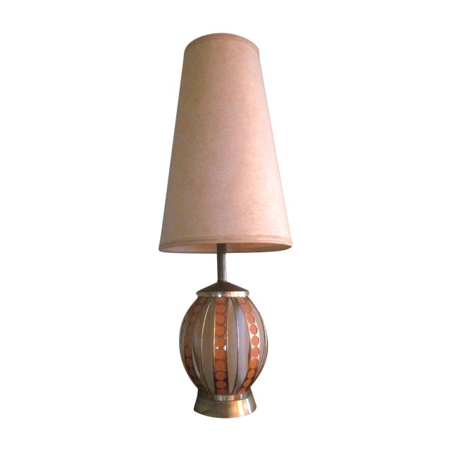 Mid Century Modern Orange Dot Brass Lamp - Image 1 of 9