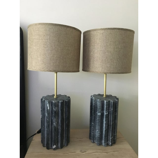 Black Marble Modern Table Lamps - a Pair - Image 2 of 7