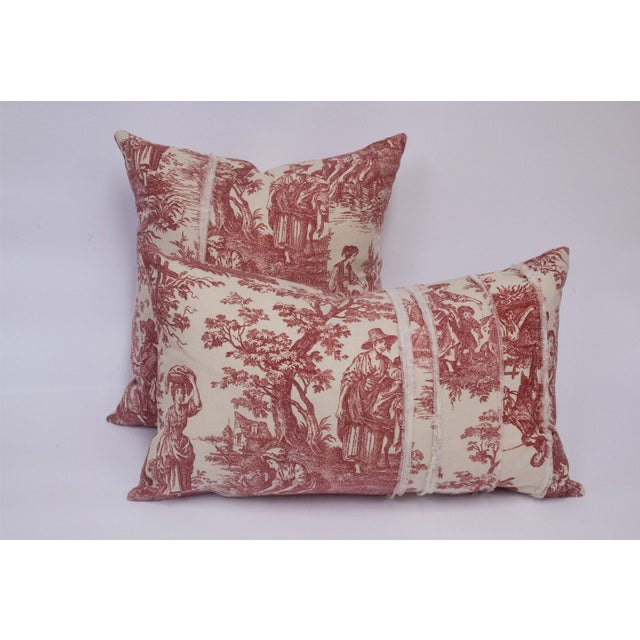 Red & Cream Deconstructed Toile Pillows - A Pair - Image 2 of 8