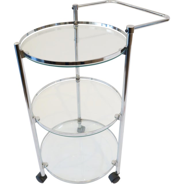 Glass & Chrome Bar Cart - Image 1 of 7