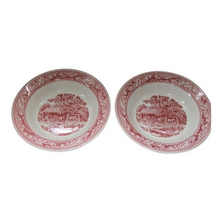 Royal Pink Transfer Ware Rim Soup Bowls - A Pair