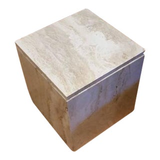 Compact Cube Travertine Side Table