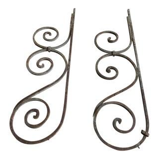 Antique Victorian Iron Brackets - A Pair
