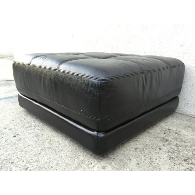 Mid-Century Black Leather Ottoman - Image 7 of 8
