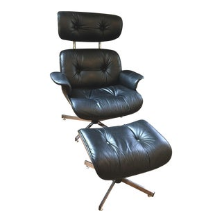 Vintage Eames-Style Lounge Chair & Ottoman