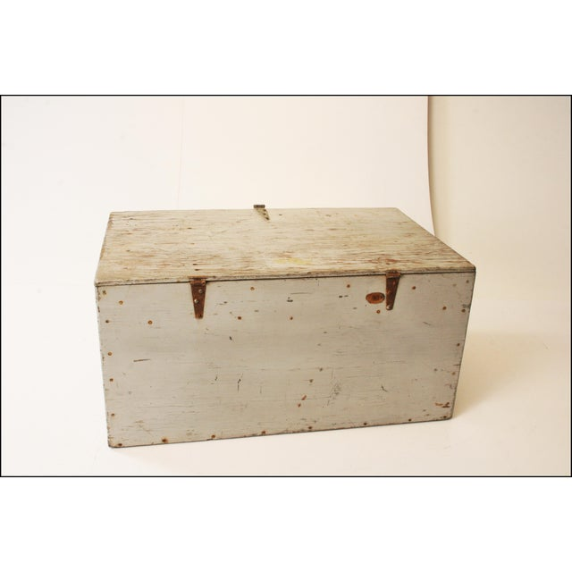 Image of Vintage Industrial Wood Gray Military Storage Chest