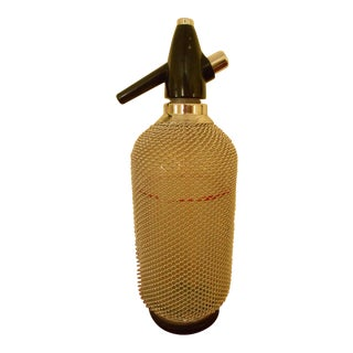 Vintage Seltzer Bottle With Wire Mesh With Chargers