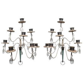 Pair of Large Tole and Crystal Sconces
