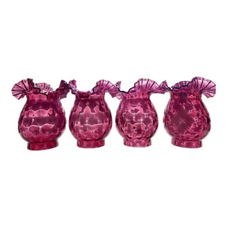 Cranberry Glass Lamp Shades - Set of 4