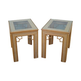 Rattan Bamboo Glass Top Side Tables - Pair