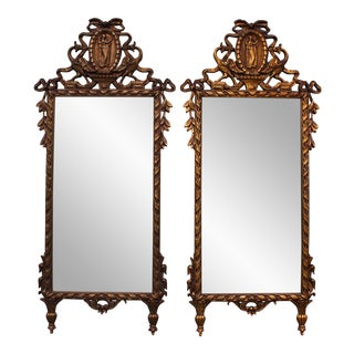 Vintage Ornate Gilded Full-Length Mirrors - A Pair
