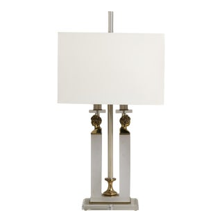 A Single Lucite and Brass Neoclassial Style Table Lamp 1970s