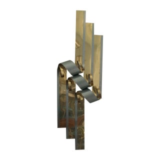 Curtis Jere Two Tone Steel Metal Ribbon Sculpture