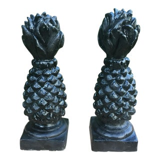 Black Stone Pineapples Finials - A Pair