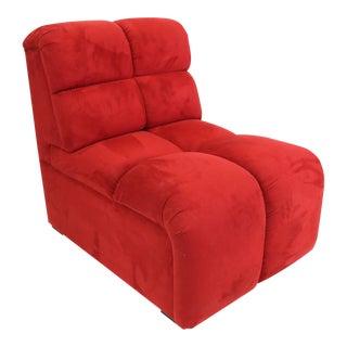 Brazilian Modern Red Suede Slipper Chair