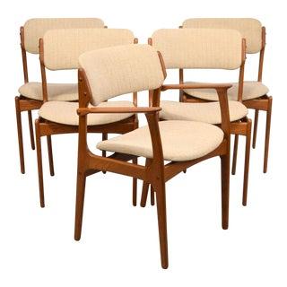 """Erik Buck """"Floating Seat"""" Teak Dining Chairs - Set of 5"""