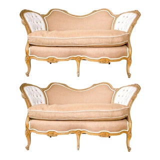 Carved Louis XV Style Canape-Settees - A Pair