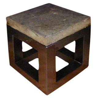 Stone Top Side Table with Natural Base