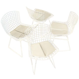 Bertoia Wire Chairs in White - Set of 4