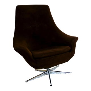 Overman Style Mid-Century Brown & Chrome Egg Chair