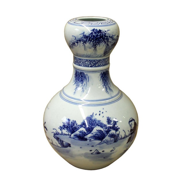 "Image of Chinese Suantouping Blue & White Porcelain ""Garlic-mouth"" Vase"