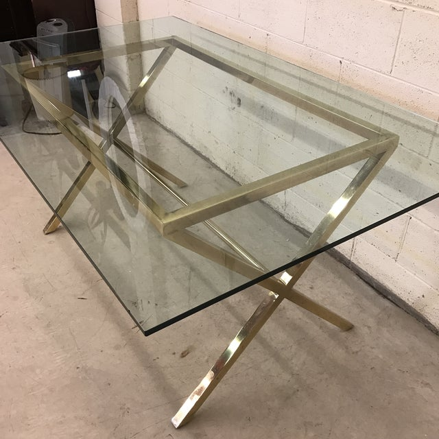 Contemporary Brass & Glass Dining Desk Table - Image 10 of 11