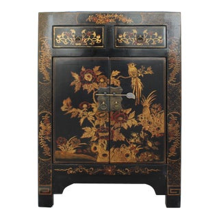 Chinese Black Base Golden Flower Birds Scenery End Table Nightstand