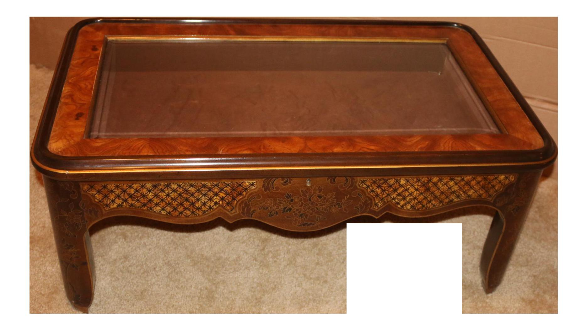 Drexel Curio Glass Top U0026 Burled Wood Coffee Table   Image 1 Of 11